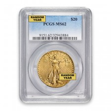 $20 Gold Saint Gaudens Double Eagle PCGS MS62 Obverse