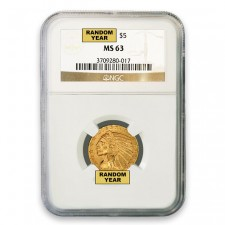 $5 Indian Gold Half Eagle NGC MS63