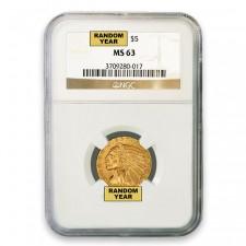 $5 Indian Gold Half Eagle NGC MS63 (Random)