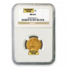 1908-1929 Random Date $5 Indian NGC MS 64 Obverse