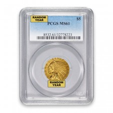 $5 Indian Gold Half Eagle PCGS MS61 (Random)