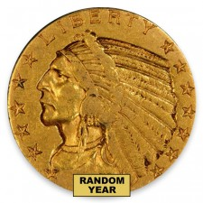 $5 Indian Gold Half Eagle Very Fine (VF) Random