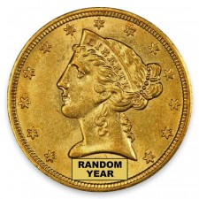 $5 Liberty Gold Half Eagle About Uncirculated (AU) Random