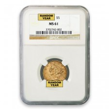 $5 Liberty Gold Half Eagle NGC MS61 (Random)