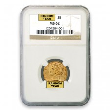 $5 Liberty Gold Half Eagle NGC MS62 (Random)