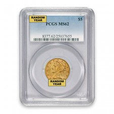 $5 Liberty Gold Half Eagle PCGS MS62 Obverse
