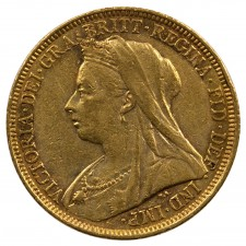 Great Britain Queen Victoria Veiled Head Gold 1/2 Sovereign 1893-1901