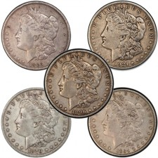 VG Morgan Silver Dollar 5 Coin Decade Set