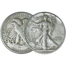 "90% ""Junk"" Silver Walking LIberty Half Dollars $1 FV (2 Coins)"