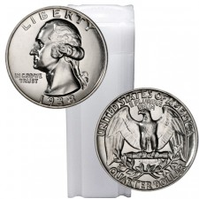 Tube of 90% Silver Washington Quarters Brilliant Uncirculated (BU) - $10 Face Value