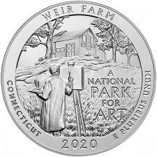 2020 5 Oz Silver ATB Weir Farm National Historic Site (BU)