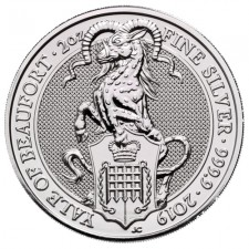 2019 UK 2 Oz Silver The Yale of Beaufort BU (Queen's Beasts Series)