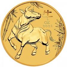 2021 Australia 1/4 oz Gold Lunar Ox Coin (BU)