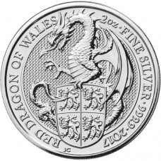 2017 UK 2 Oz Silver The Red Dragon of Wales BU (Queen's Beasts Series)