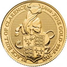 2018 UK 1/4 Oz Gold Black Bull of Clarence BU (Queen's Beasts Series)