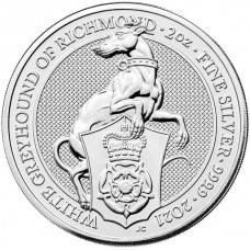 2021 UK 2 Oz Silver The White Greyhound of Richmond BU (Queen's Beasts Series)