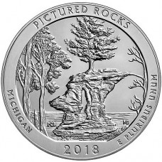 2018 Pictured Rocks 5 Oz Silver ATB Coin (BU)