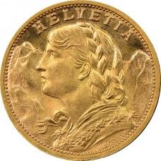 Swiss Gold 20 Francs Helvetia (Random Year)
